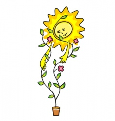 plant and sun vector image