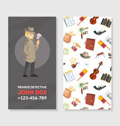 Private detective business card template vector