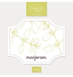 Product sticker with hand drawn marjoram leaves vector image