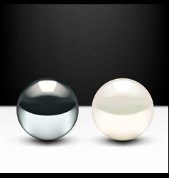 Realistic 3d chrome ball and shiny pearl isolated vector
