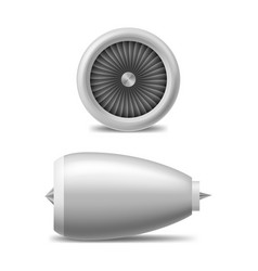 Realistic 3d detailed white jet engine set vector