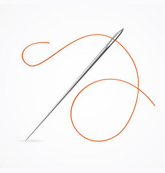 Realistic detailed 3d needle and red thread vector