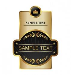 Retro black gold framed label vector