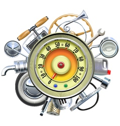 Retro Car Parts with Speedometer vector