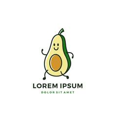 Running avocado logo icon cartoon mascot character vector