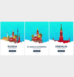 russia moscow time to travel set of travel vector image
