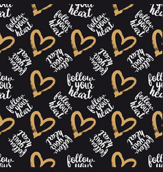 Seamless pattern from hearts on black vector