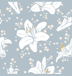 seamless pattern with flowers lilium floral vector image