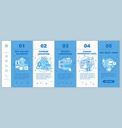 Searching part time jobs onboarding mobile web vector