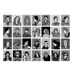 Set avatars black and white people icons vector image