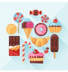 Set of colorful various candy sweets and cakes vector image