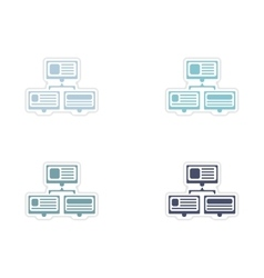 Set of paper stickers on white background computer vector