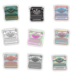 Set stickers and badges with hand drawn vector
