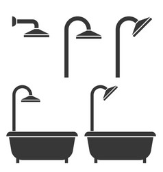 Shower and bath tub silhouette icon for hotel vector