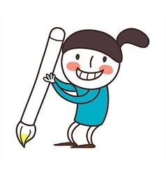 Side view of girl holding brush vector
