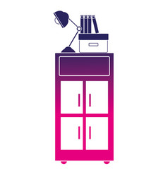 Silhouette cabinet archive with books and lamp vector