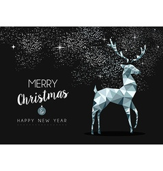 Silver greeting card for christmas with deer vector