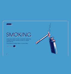 Smoking isometric landing cigarette and lighter vector