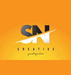 Sn s n letter modern logo design with yellow vector