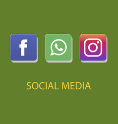 Social media icons facebook icon whatsapp icon vector