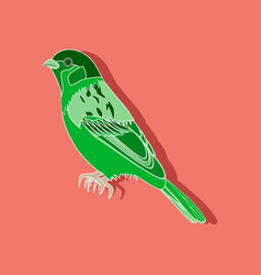Sparrow paper sticker on stylish background vector