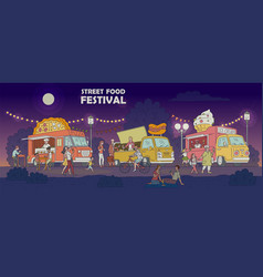 Street food festival night scene with trucks and vector