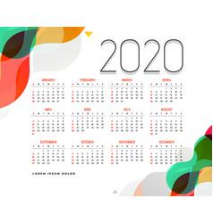 Stylish modern 2020 calendar design template vector