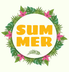 Summer banner with tropical plants and flowers vector