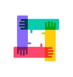 team work hand holding each other logo icon vector image