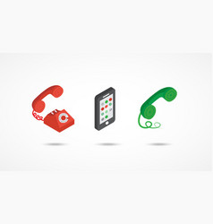 Telephone isometric icons 3d colorful vector