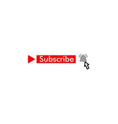 Template subscribe button and finger click cursor vector