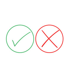 Thin line check mark icons green tick and red vector