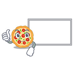 Thumbs up with board margherita pizza in a cartoon vector