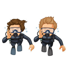 Two scuba divers with hand gesture vector