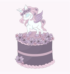 Unicorn cake birthday party cartoon vector
