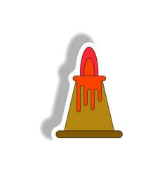 Volcano sticker volcano eruption and lava vector