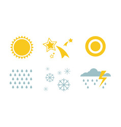 weather and nature symbols set sun star snow vector image