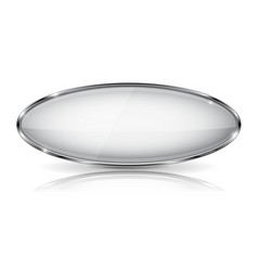 white glass 3d button with metal frame oval shape vector image