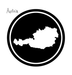white map of austria on black circle vector image