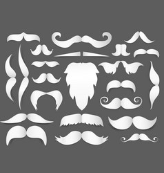 white paper cut style mustache and beard with vector image