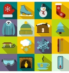 Winter icons set flat style vector image