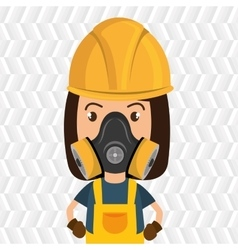 woman worker mask gas vector image
