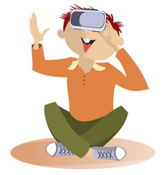 Young man wearing virtual reality goggles isolated vector
