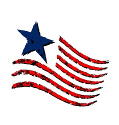 American wave flag symbol independence day vector