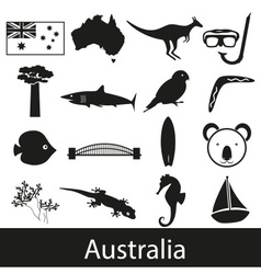 Australia country theme symbols stickers set eps10 vector image vector image
