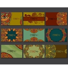Ethnic colored business card set vector image vector image