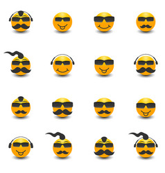 funny face with a mustache and sunglasses vector image