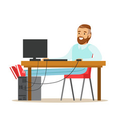 smiling bearded man working on a computer at his vector image