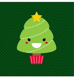 Adorable cartoon Christmas Kawaii tree vector image vector image