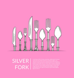 background with hand drawn tableware vector image